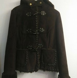 Via Spiga Faux Suede and Shearling Winter Coat